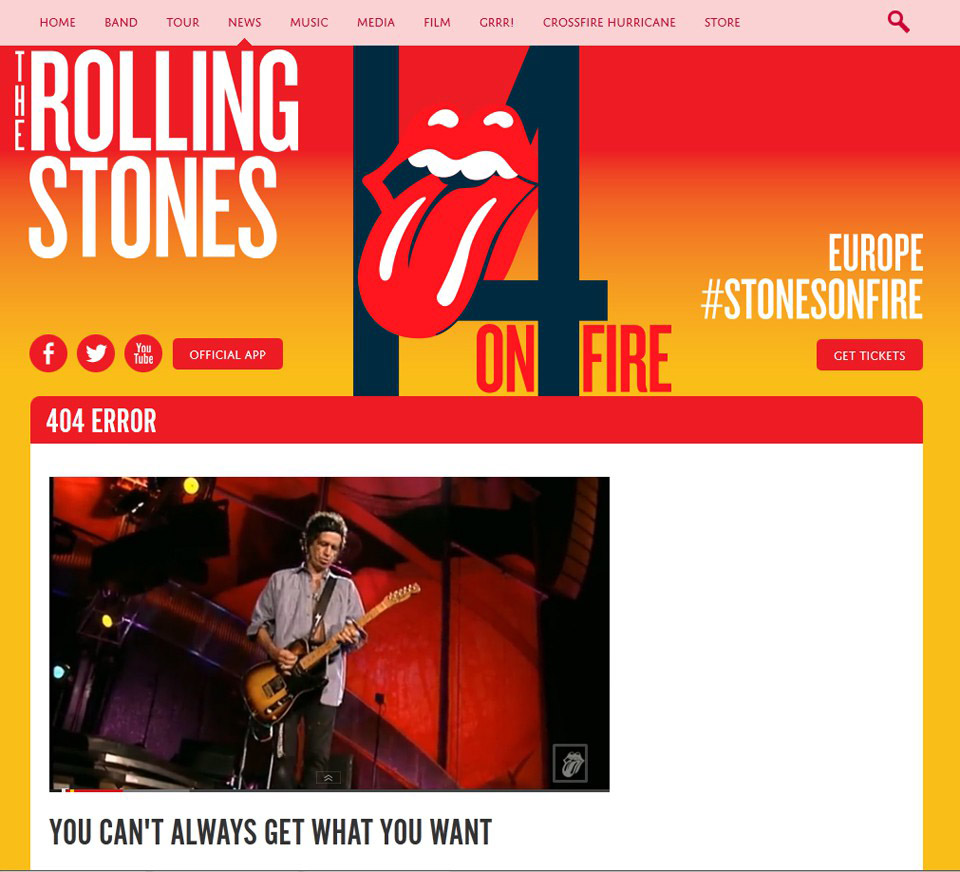 The coolest 404 page. The Rolling Stones You can't always get what you want - 9bureau english